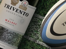 Trivento, official supporter of Premiership Rugby, on field advertisement