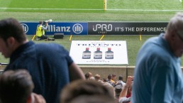 Trivento, official wine of Premiership Rugby, advertisement projected onto the field