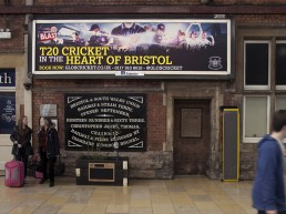 Grand Central Gloucestershire County Cricket T20 Campaign on platform billboards